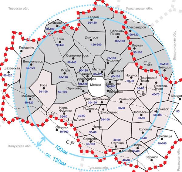 Карта глубин водоносных горизонтов Московской области
